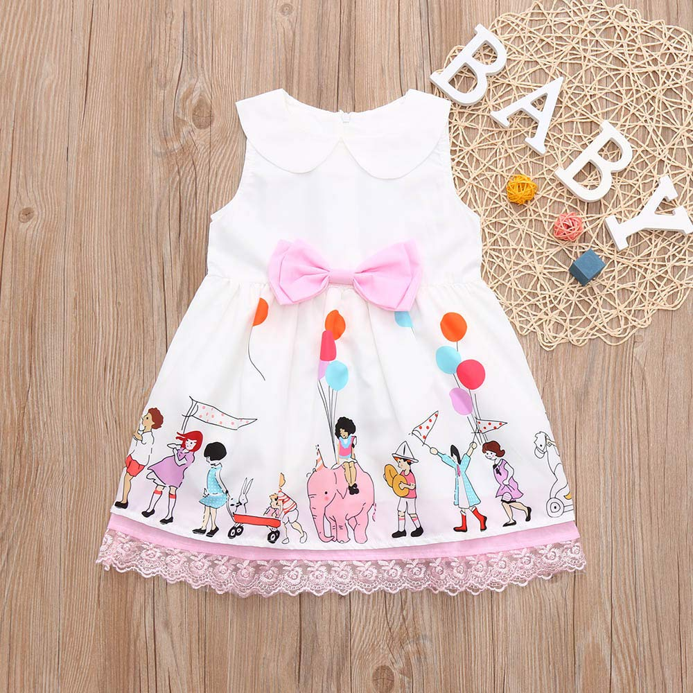 Toddler Baby Girls 12 Months-5T Sleeveless Cartoon Print Bownot Lace Dress Kids Clothes