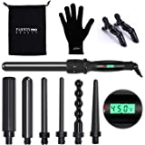 PARWIN PRO BEAUTY Curling Iron Set 7 in 1 Interchangeable Barrels Dual Voltage Hair Curler LCD Display Tourmaline Ceramic Cur