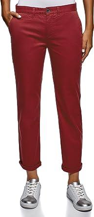 oodji Ultra Mujer Pantalones Chinos de Algodón, Rojo, ES 36 / XS: Amazon.es: Ropa y accesorios