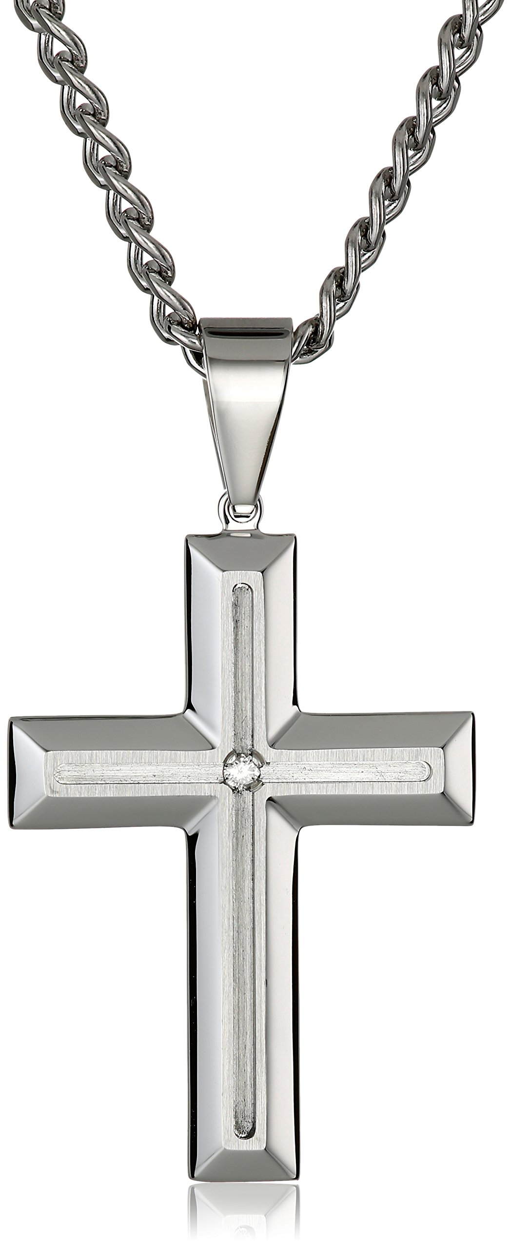 Men's 0.03 Ctw Stainless Steel Grooved Cross Pendant Necklace, 24''