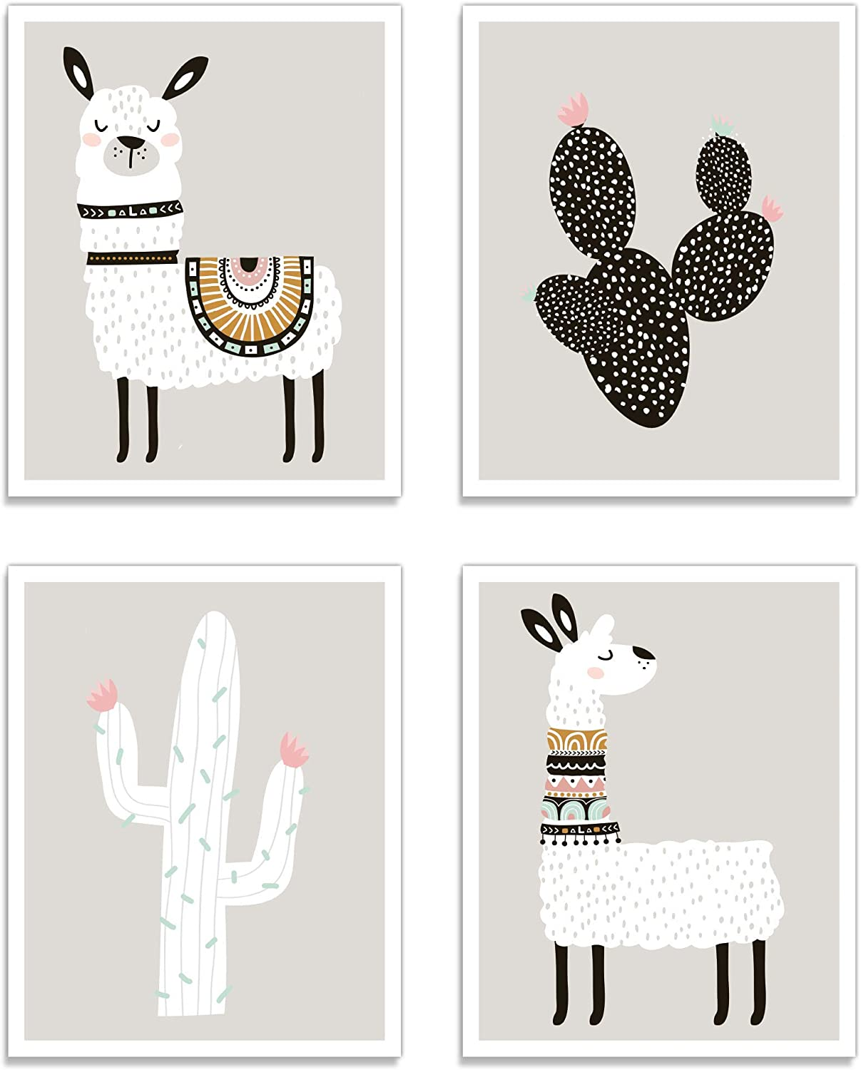 "Llama Wall Decor Art Posters - Set of 4 (11"" x 14"") Professional Grade Prints (Llama & Cactus) for Baby Room, Boy/Girl Room, Kids, Nursery Room Decor, Playroom, by Kindred Sol Collective"