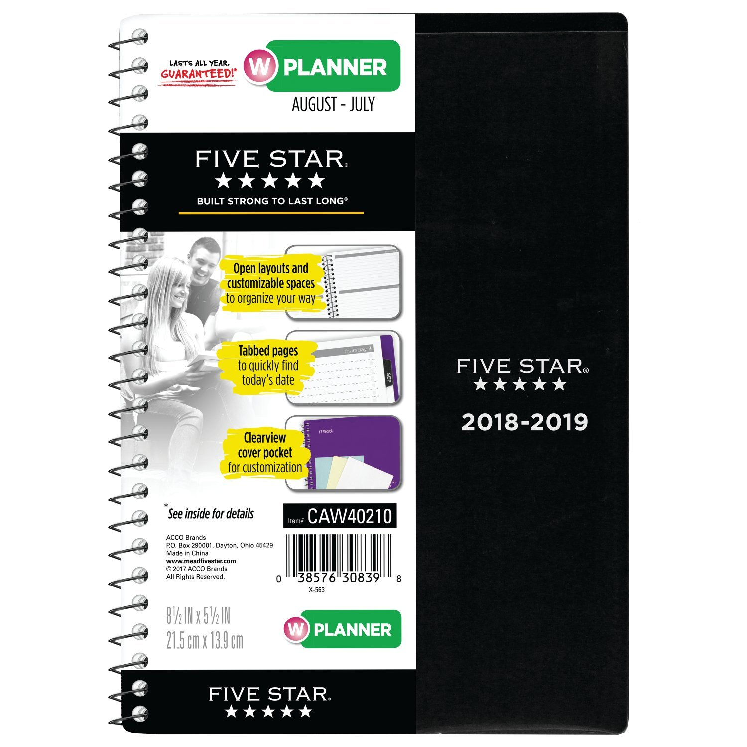 Five Star Student 2018-2019 Academic Year Weekly & Monthly Planner, Small, 5-1/2 x 8-1/2, Customizable, Black (CAW40200)