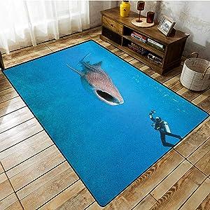 "Custom Rug,Shark,Giant Whale Shark and Underwater Photographer in Wildlife Diving Image,Anti-Slip Doormat Footpad Machine Washable,5'10""x7'10"" Violet Blue Pale Grey"