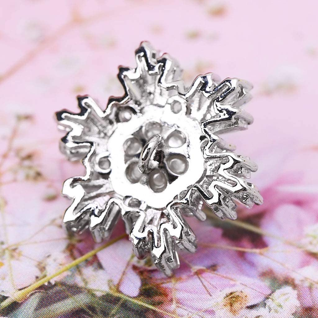 Wuwei12 Boutons d/écoratifs en forme de flocon de neige en fausse perle et strass avec boucle en m/étal pour couture et travaux manuels