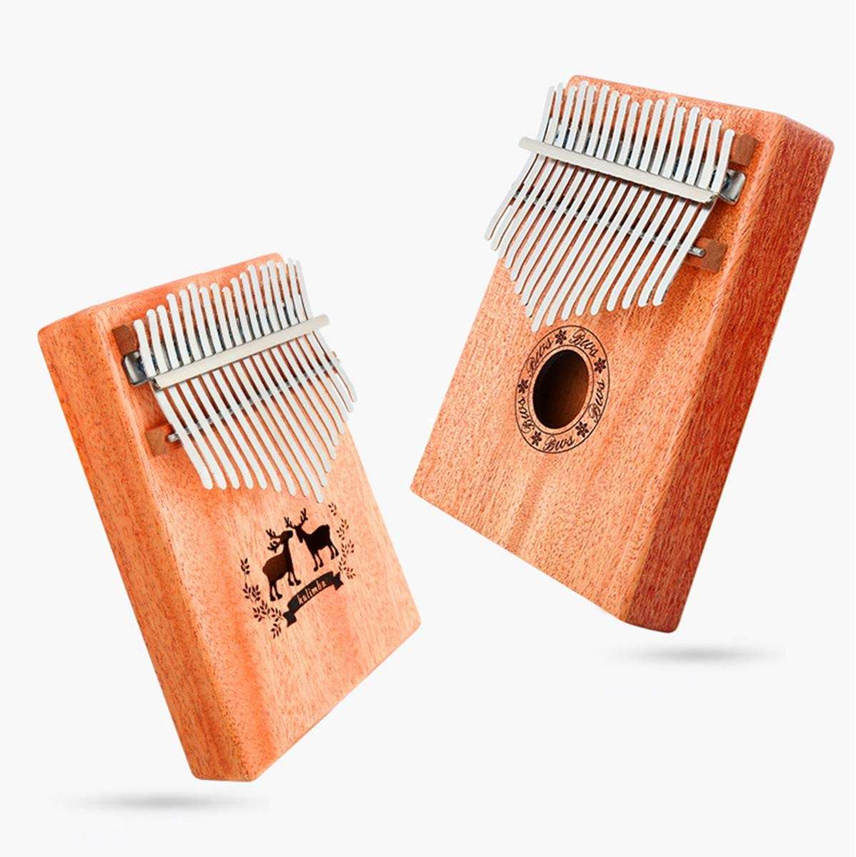 Instrumento musical con martillo de afinaci/ón y libro de aprendizaje Piano de pulgar SunshineFace de 17 teclas idioma espa/ñol no garantizado Color retro. Kalimba de madera