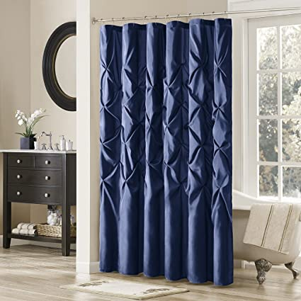 Madison Park Laurel Navy Shower Curtain Solid Transitional Curtains For Bathroom 72 X