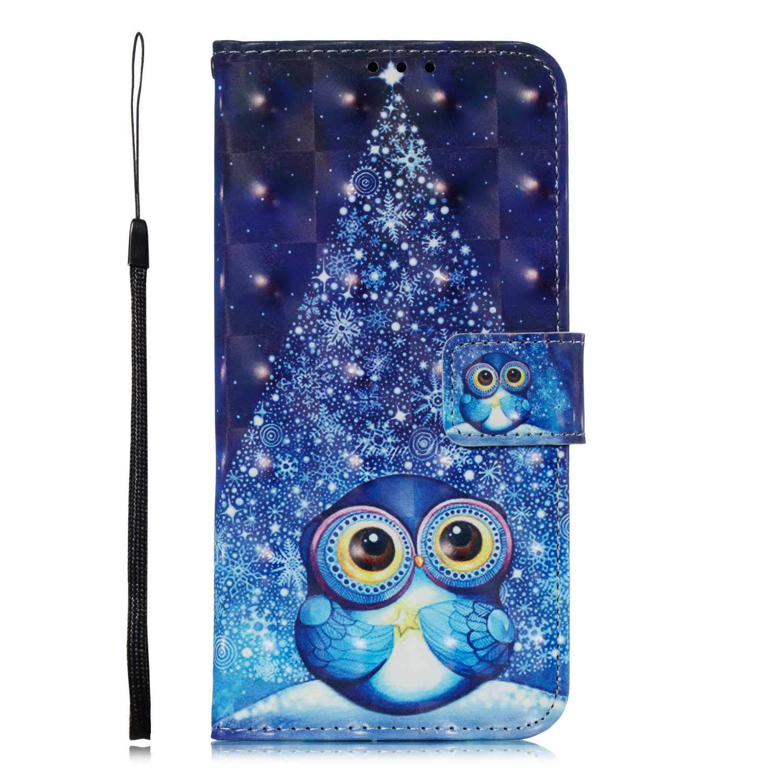 DENDICO Funda Galaxy A9 2018 Carcasa Tapa Billetera Magn/ética Flip Ultra-Delgado Cover con Ranura para Tarjetas para Samsung Galaxy A9 2018 B/úho y atrapasue/ños