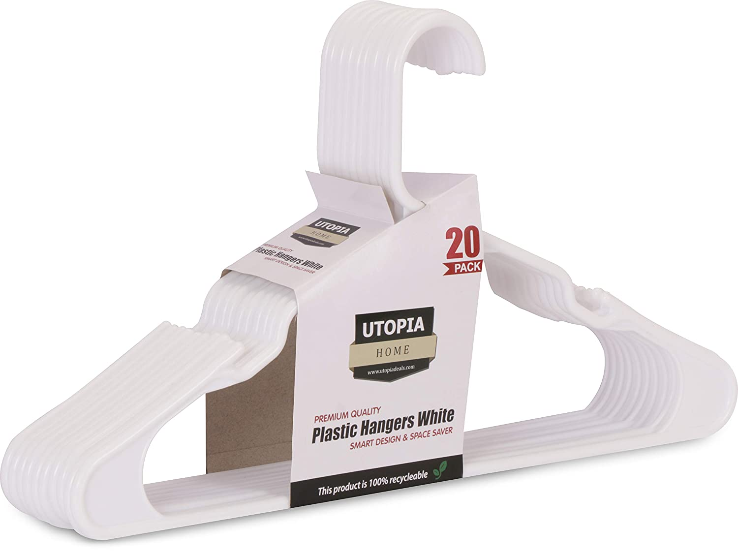 Standard Plastic Hangers - White - Pack of 20 - by Utopia Home UH0062