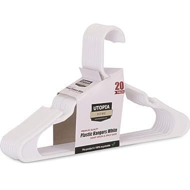 Utopia Home 20-Pack Standard Plastic Hangers - White