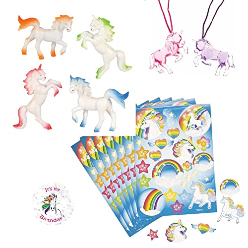 Unicorn Party Favors For 12 - Unicorn Necklaces (12) Unicorn Stickers (12 Sheets) Unicorn Figures (12) and a Birthday Sticker