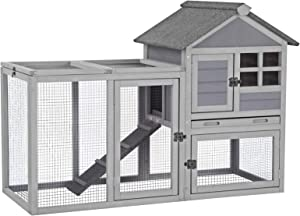 Aivituvin Rabbit Hutch Indoor Outdoor Bunny Cage with Run,Guinea Pig House Pull Out Tray