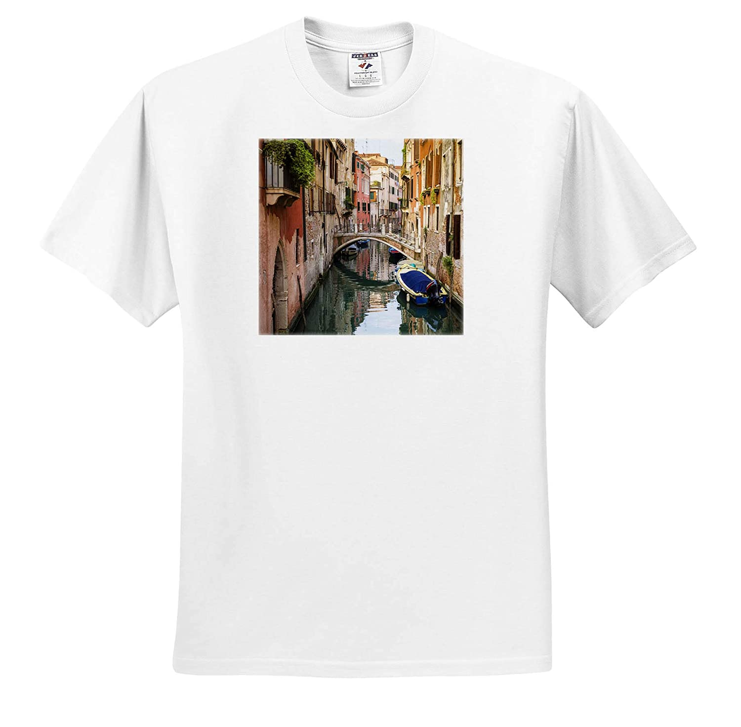 Canal and Houses ts/_313740 Adult T-Shirt XL Venice Veneto Italy Bridge and Boats Venice 3dRose Danita Delimont