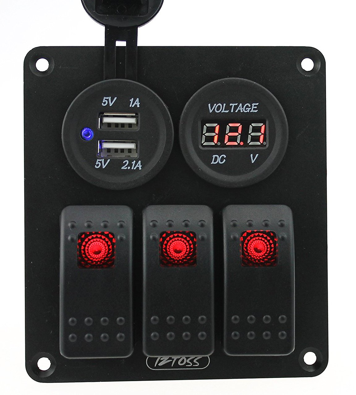 Iztoss 3 gang rocker switch panel with DC12V/24V voltmeter 3.1A(2.1A+1A) dual USB wiring kits and Decal Sticker Labels DC12V/24V for Marine Boat Car Rv Vehicles Truck Red led by IZTOSS