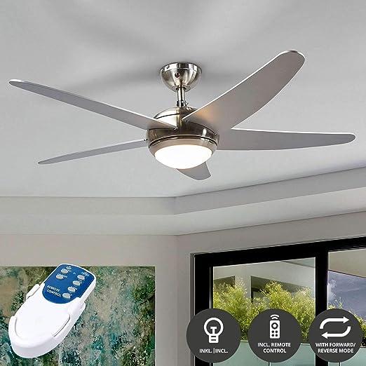 Ventilador de techo con lámpara Anneka (Moderno) en Gris hecho de Madera e.o. para Salón & Comedor (1 llama, R7s 78,3 mm, C) de LAMPENWELT | Ventilador: Amazon.es: Iluminación