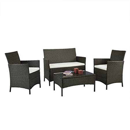 cushioned coffee table. EBS Brand Complete Compact 4pcs White Cushioned Coffee Table Outdoor/Indoor Patio Garden Lawn Furniture