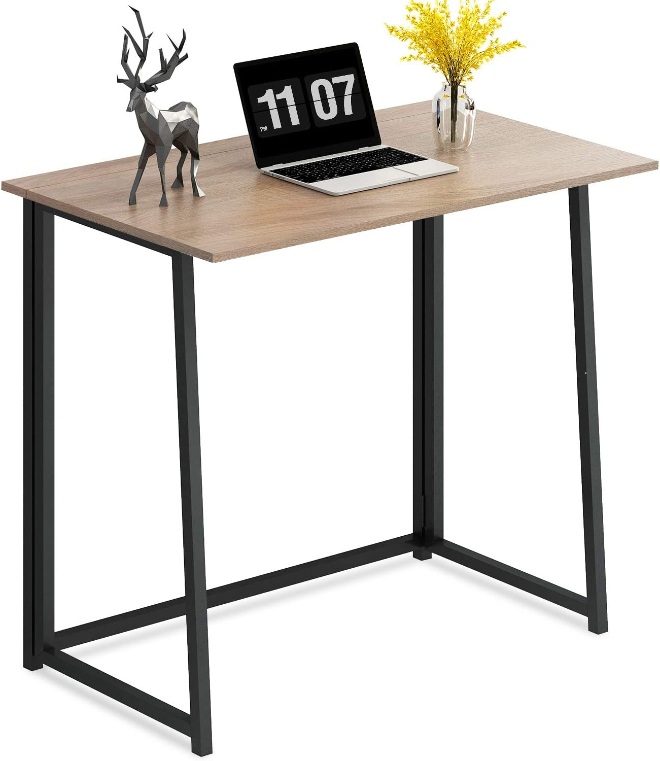 4NM Folding Desk, Small Computer Desk Home Office Desk Foldable Table Workstation for Small Places (Natural and Black)