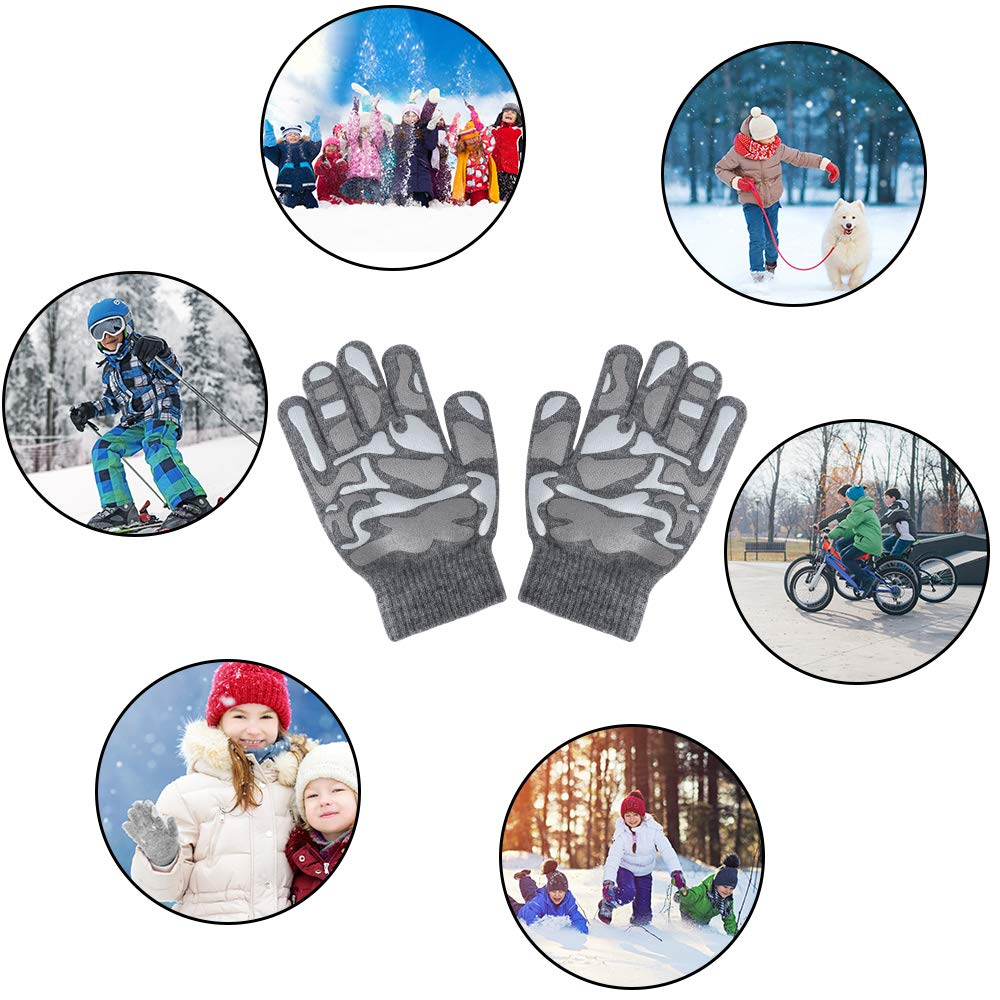 Hicdaw 6 Pairs Kid Winter Gloves Boys Gloves Winter Stretch Gloves Gift for 4-13 years old Kid