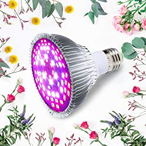 Grow Light Bulb, PATHONOR 20W Led Grow Plant Light with E27 Growing Lamp P30 Full Spectrum Grow Bulbs for Flowering Lighting Indoor Garden Plants Greenhouse and Hydroponic