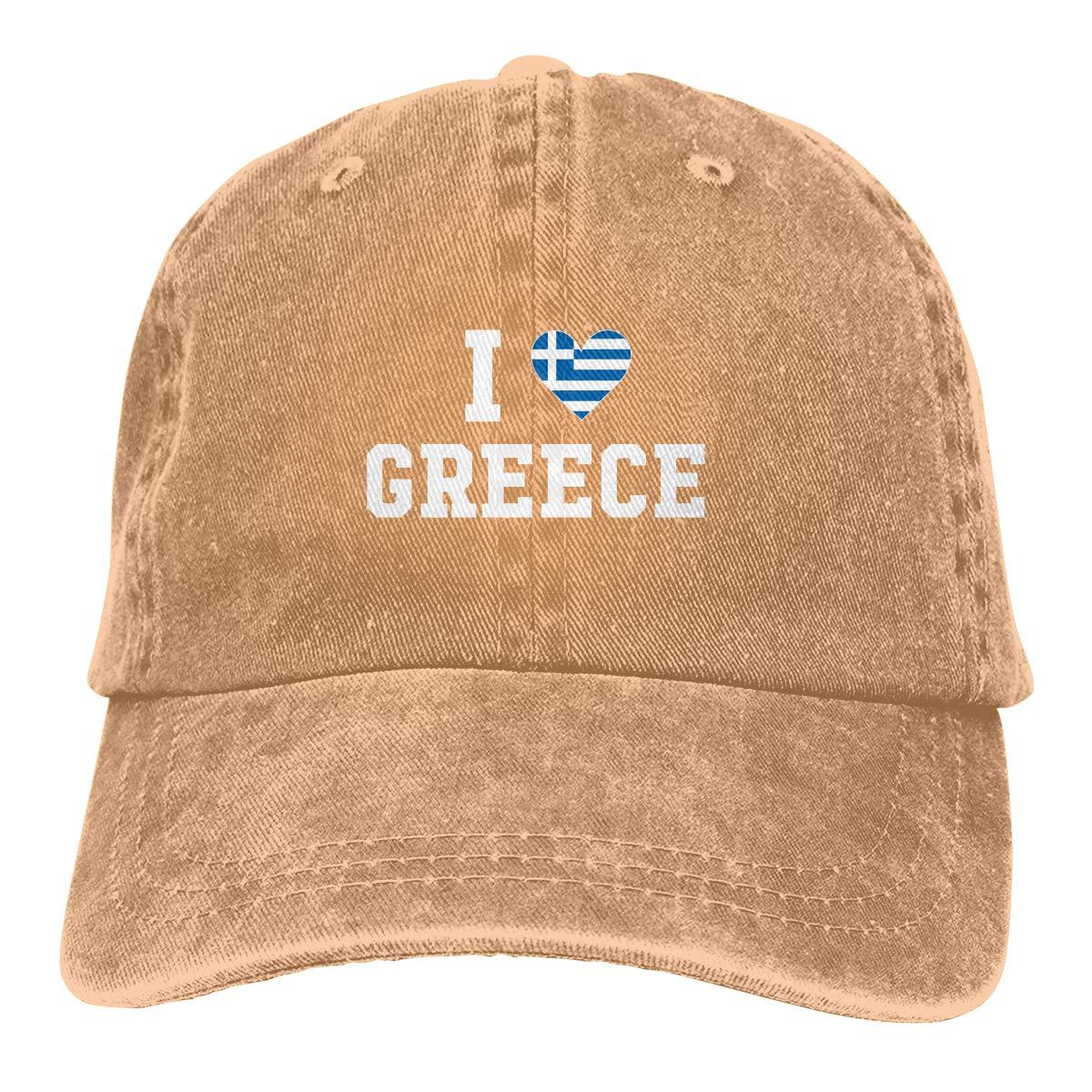 I Love Greece Flag Heart Fashion Adjustable Cowboy Cap Baseball Cap for Women and Men