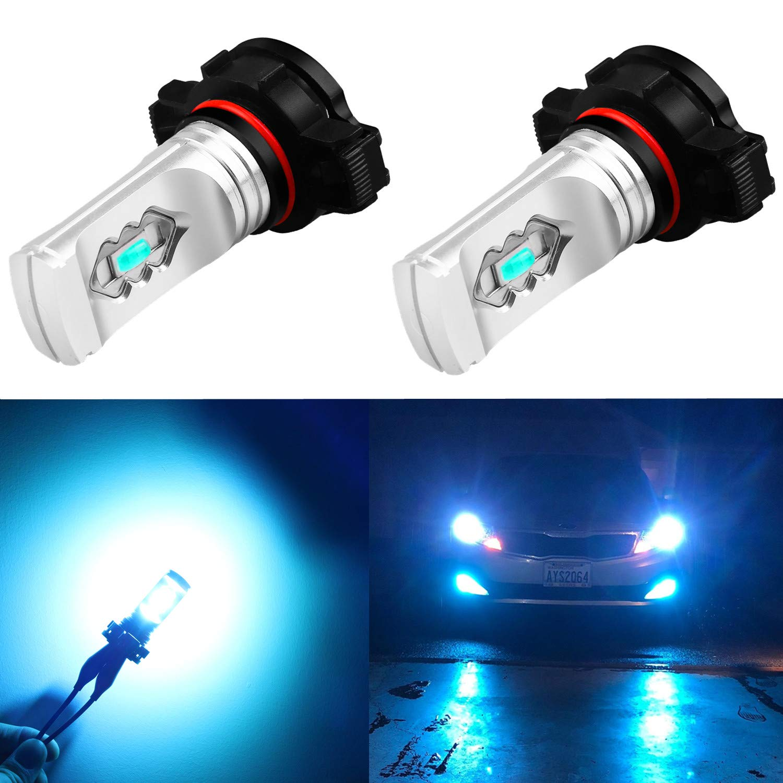 Alla Lighting 3600lm Xtreme Super Bright PSX24W LED Bulbs PSX24W Fog Light High Illumination ETI 56-SMD LED PSX24W Bulb 12276 2504 PSX24W Fog Lights Lamp Replacement - 8000K Ice Blue