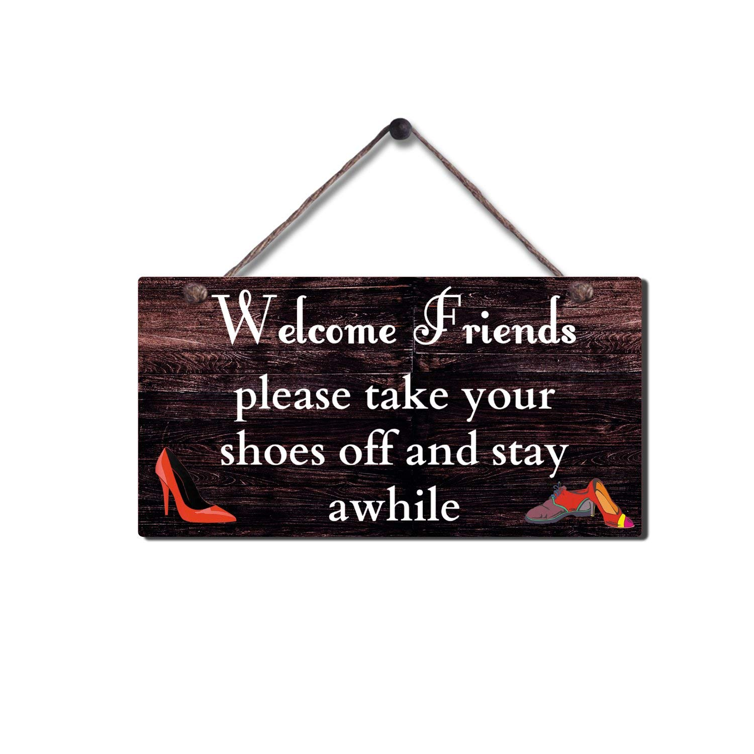 MAIYUAN Welcome Friends Please Take Your Shoes Off and Stay Awhile Rustic Wood Sign for Wall Hanging Home Decor 10 x 5 Inches