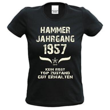 Geburtstag-Damen-Mädchen-Happy-Birthday Fun-Girlie-T-Shirt Geschenk mit  Sprüche-Motiv: Hammer Jahrgang 1957 Farbe: Schwarz: Amazon.de: Bekleidung
