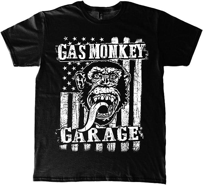 Mens Gas Monkey Garage Vertical Flag Offiziell Männer T Shirt Herren Small Bekleidung