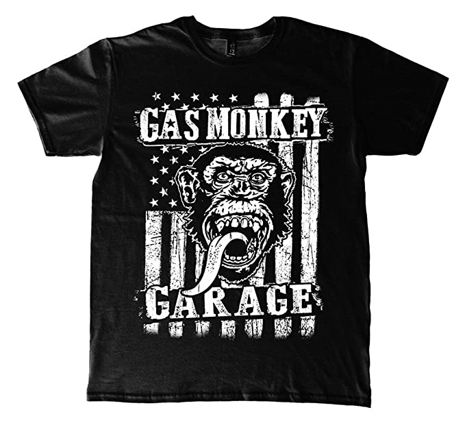 Mens Gas Monkey Garage Vertical Flag oficial Camiseta para hombre (Small)