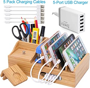Bamboo Charging Station for Multiple Devices with 5 Port USB Charger, 5 Charger Cables and Apple Watch Stand. Wood Desktop Dock Stations Electronic Organizer for Cell Phone, Tablet, Watch, Office