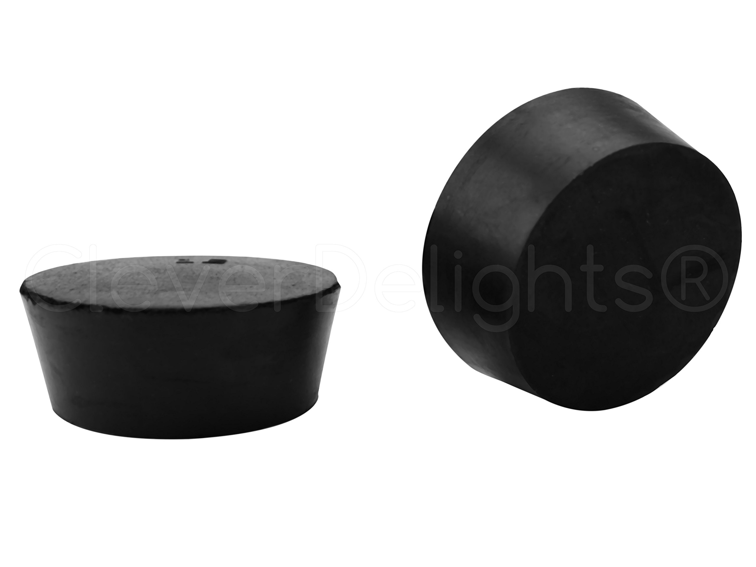 3 Pack - CleverDelights Solid Rubber Stoppers - Size 12-62mm x 51mm - 38mm Long - Black Lab Plug #12 by CleverDelights