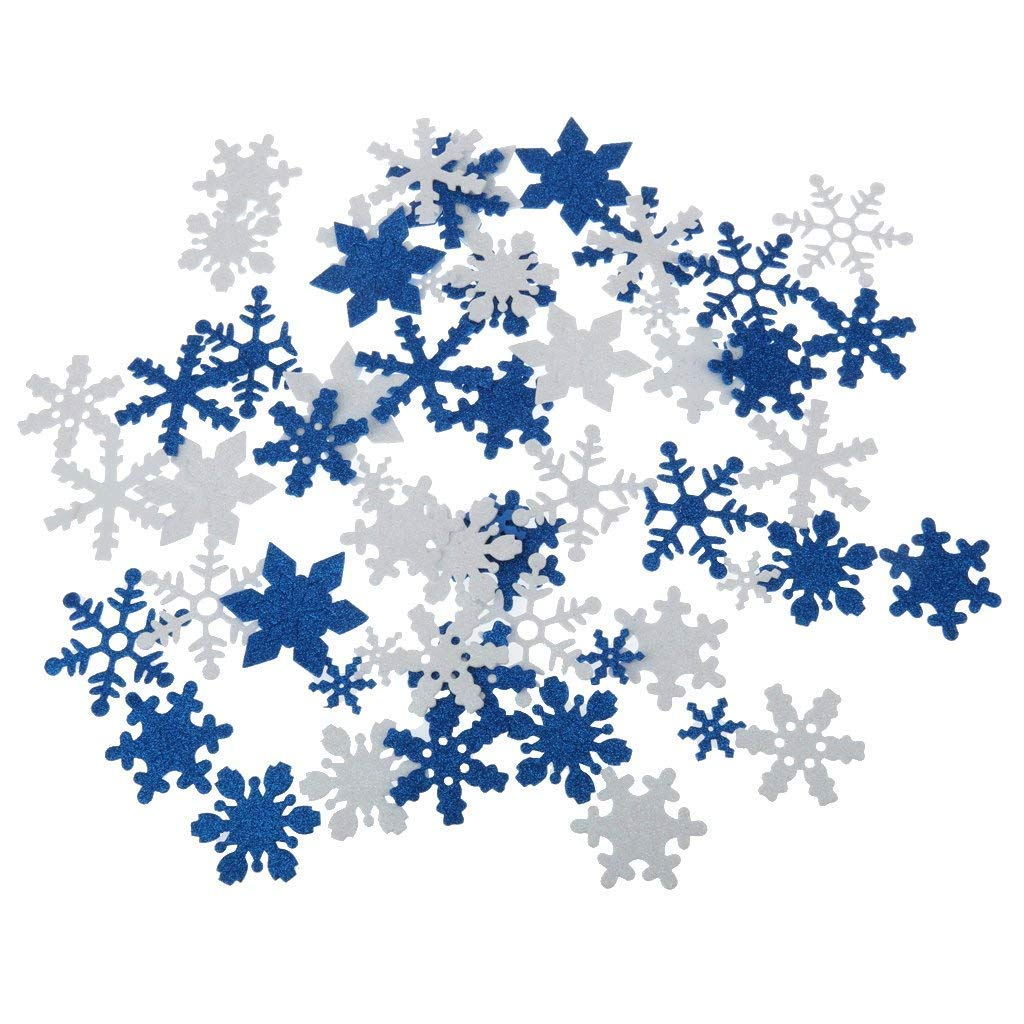Yevison Premium Quality Mixed Color Bling Glitter Snow Snowflake DIY Craft Supplies Scrapbooking Home Wall Decoration Pack of 50