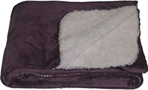 NorthCrest Home Sherpa Micromink Purple Grape Oversized Soft Throw Blanket