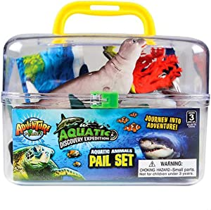 20 Pieces Sea Creatures Toys + Playmat, Includes Shark, Dolphin, Whale and More, Educational, Under the Sea Party Favors for Boys and Girls, Bath Toys for Toddlers, Ages 3+, Realistic Sea Animals
