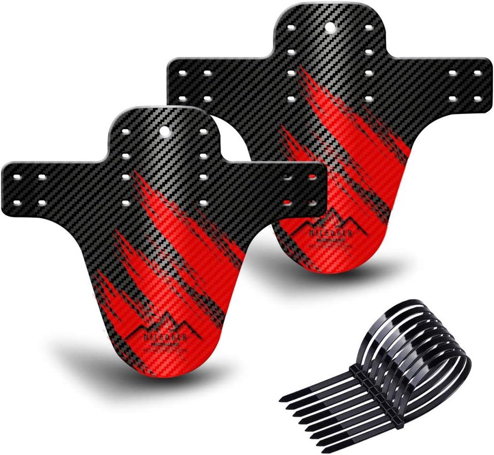 NICEDACK Guardabarros MTB, Guardabarros Bicicleta Montaña, MTB Mudguard Delantero y Trasero Compatible se Adapta a 26
