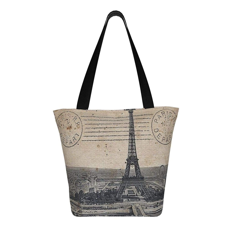 Eiffeltornet Paris kvinnors stor storlek kanvas axelväska Hobo crossbody handväska ledig bärkasse Eiffel Tower Paris