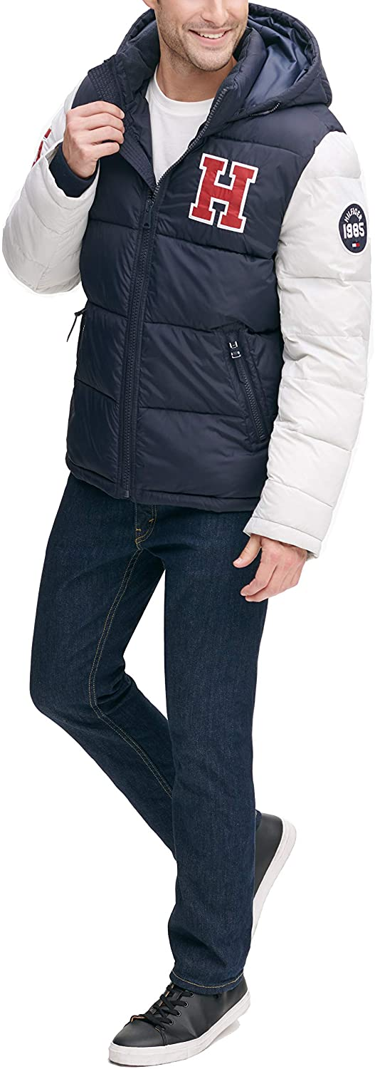 Tommy Hilfiger mens Classic Hooded Puffer Jacket Down Alternative Coat Standard and Big /& Tall