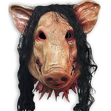 Elecsmart Saw 3 Pig ocho de fumar para máscara con pelo máscara parodia de Horror