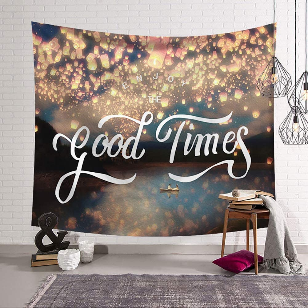 BOYOUTH Kongming Lantern Tapestry Wall Hanging,White Words and Romantic Boating for Men and Women Pattern Digital Print Wall Tapestry for Living Room Bedroom Dorm Decor,37.4 Inch by 28.7 Inch