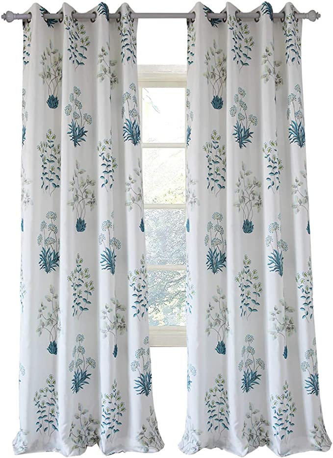 Clacoco White Curtain For Living Room 1 Piece Grommet Top Teal Blue Flower Leaf Window Curtain Panel 42 W 63 Long Amazon Co Uk Kitchen Home
