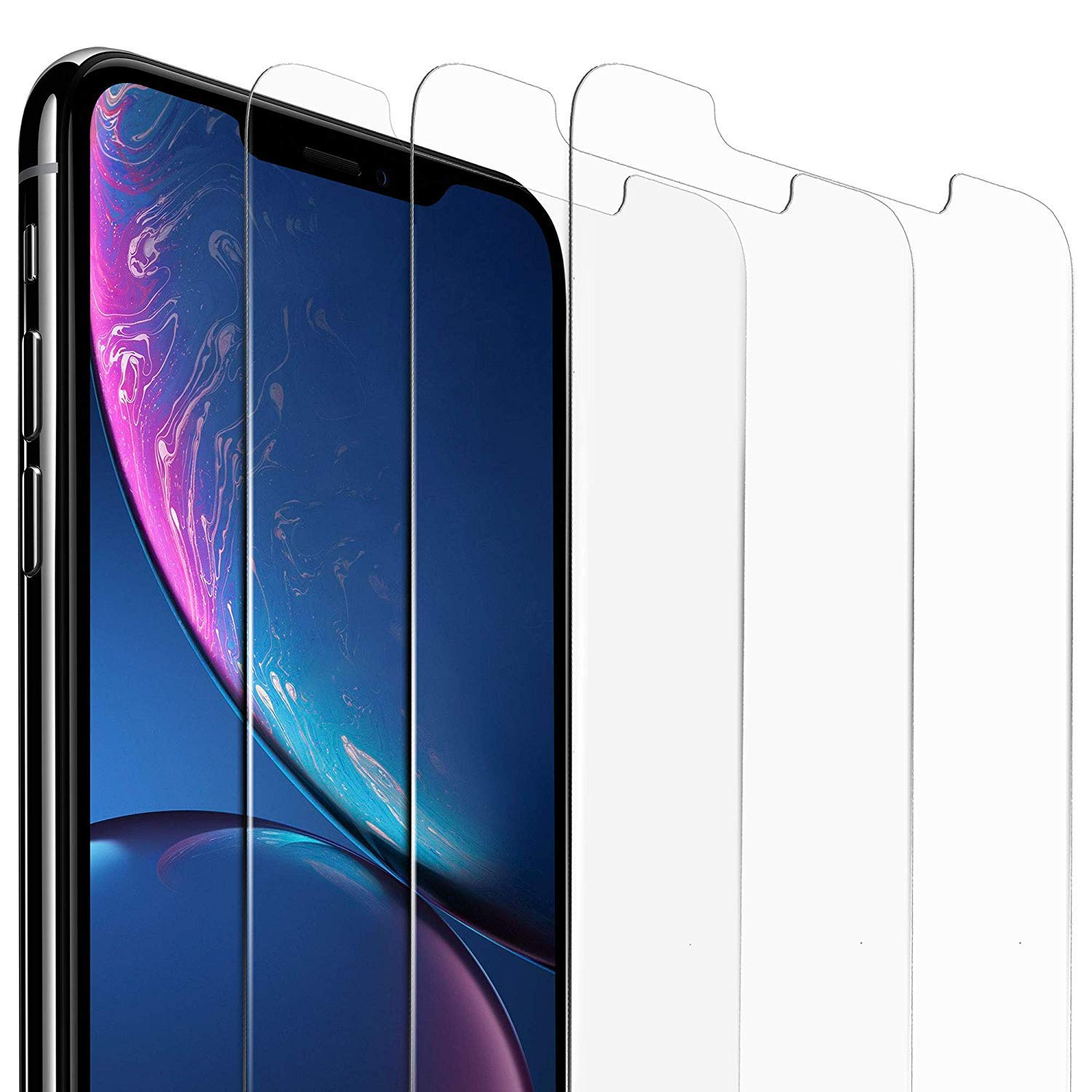 sports shoes f8486 e16a8 iPhone XR Screen Protector 6.1 inches(3 Pack, Clear) iPhone XR Tempered  Glass Screen Protector. 9H Hardness Supporting 3D Touch Best Glass