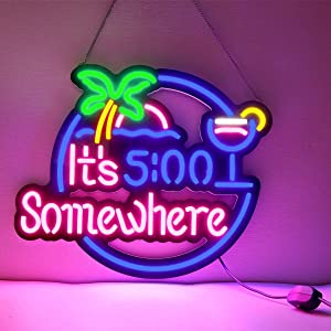 Neon Light Sign Home Beer Bar Pub Recreation Room Game Lights Windows Glass Wall Signs Party Birthday Bedroom Bedside Table Decoration Gifts (Green It's 5 :00 Somewhere)