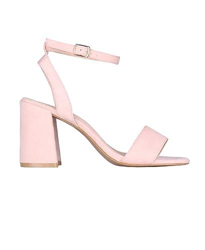 b5bdf36dde3 KRISP 2344-PNK-3  Satin Wrap Block Heel Sandals Pink  Amazon.co.uk ...
