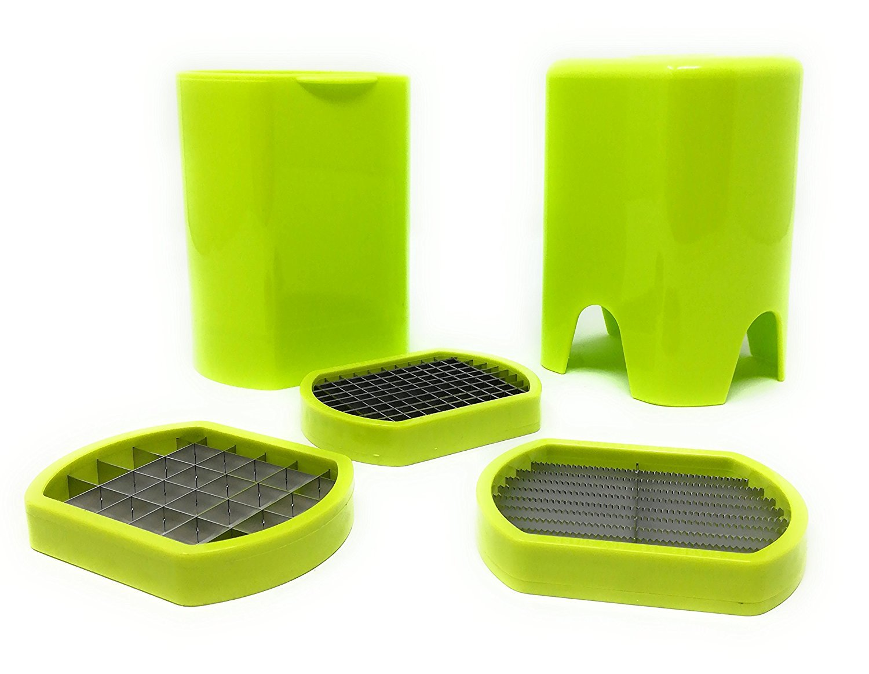 avec 3/types de coupe Vert LS2 Coupe-frites en ABS et en acier inoxydable