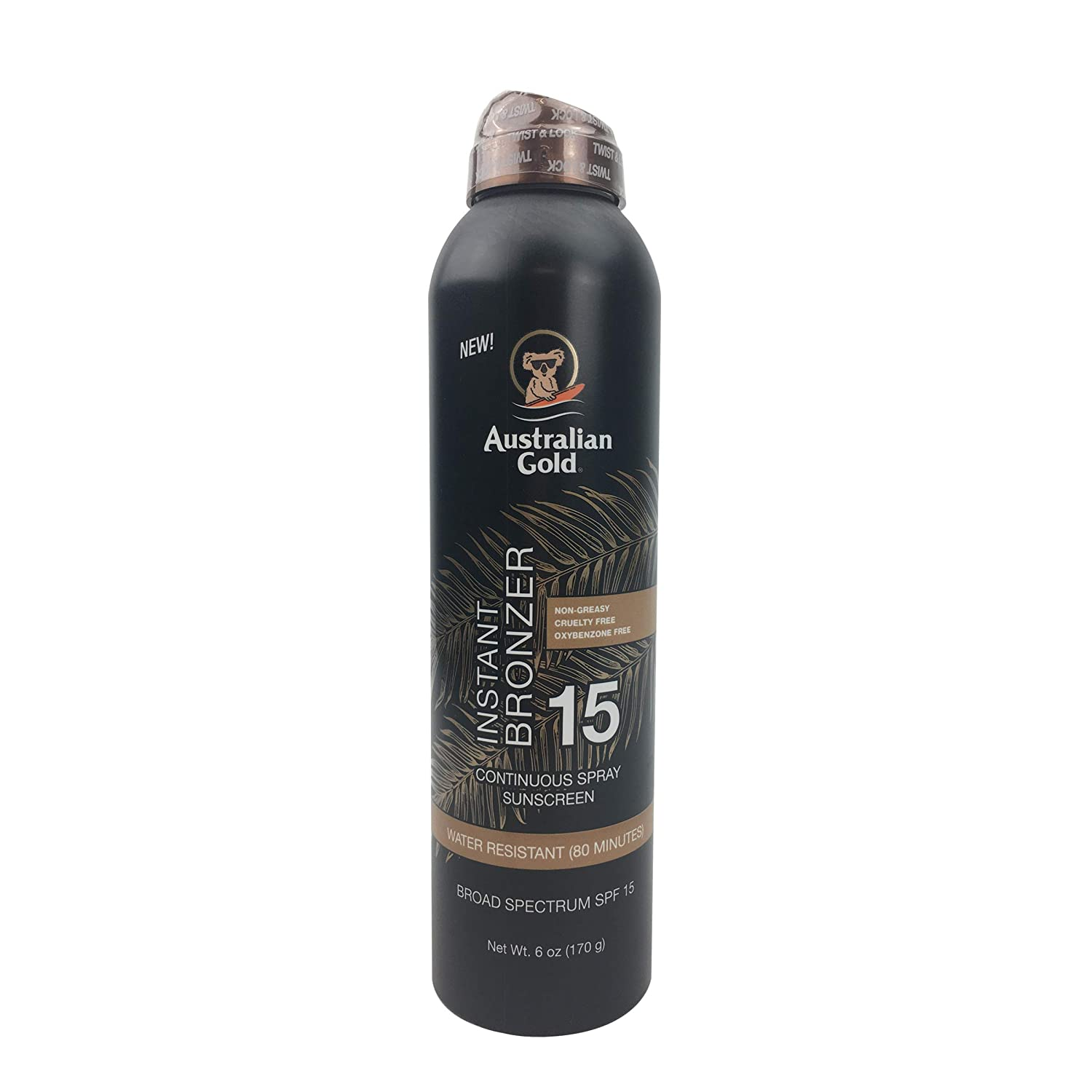Australian Gold Continuous Spray Sunscreen with Instant Bronzer SPF 15, Immediate Glow & Dries Fast, Broad Spectrum, Water Resistant, Non-Greasy, Oxybenzone Free, Cruelty Free, 6 Ounce