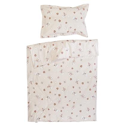 Cordero y conejo - Ropa de cama para minicuna, 100% Algodón (funda de