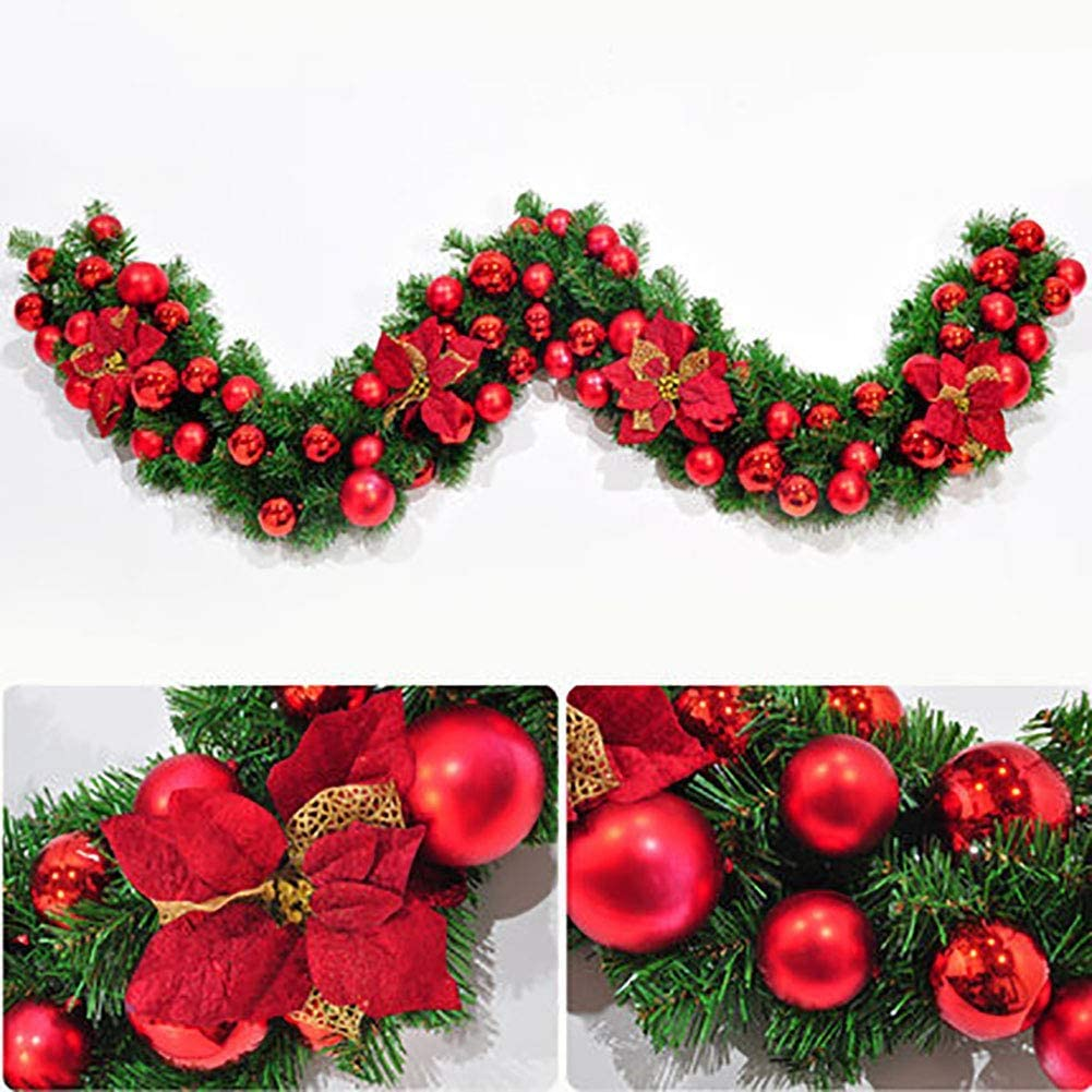 LIUSHI Premium Artificial Garland, 9ft 270cm Christmas Vine for Holiday Home Wedding Arch Party Garden Decor-red 9ft/270cm