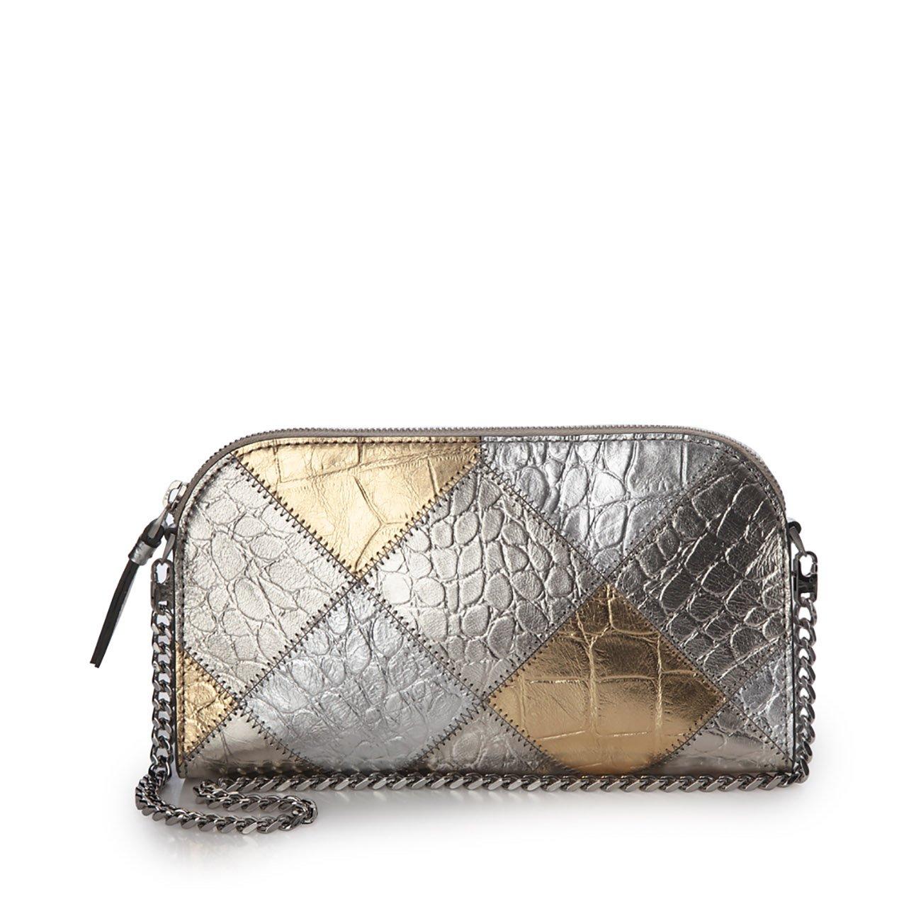 Eric Javits Luxury Fashion Designer Women's Handbag - Patchwork Pouch - Gold/Silver