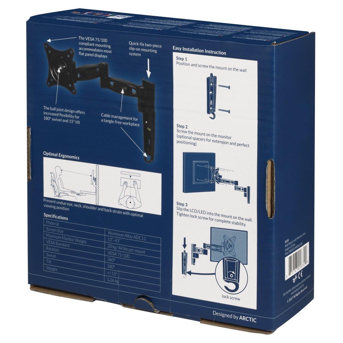 Support pour Moniteur Flexibilit/é Jusqu/à 20 kg Noir Support Mural Extensible pour /Écran ARCTIC W1B Installation Rapide R/èglages Faciles pour /Écran Jusqu/à 43//49 Ultrawide VESA 75//100