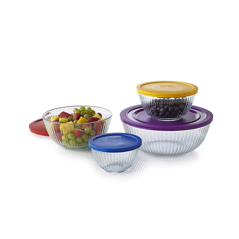 Pyrex 1112377 8-pc Sculptured Mixing Bowl Set ,Blue.Purple.Yellow.Red ,Blue.Purple.Yellow.Red.