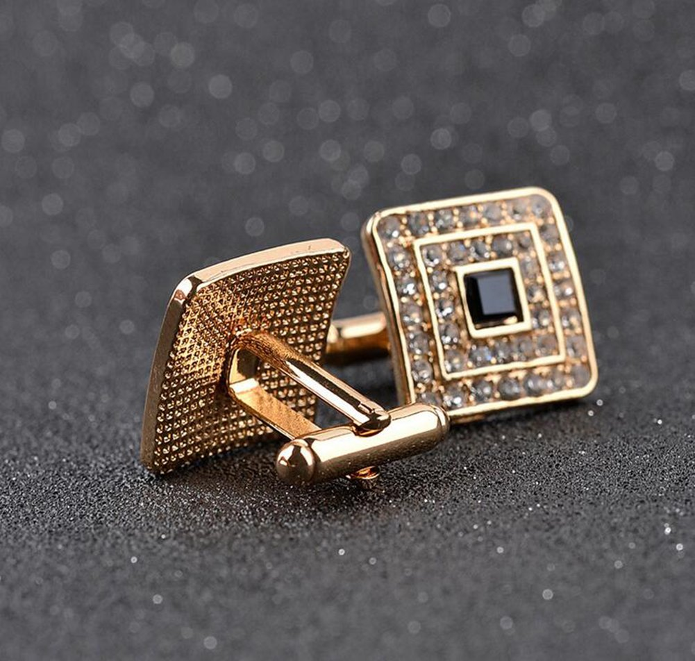 Da.Wa Men Enamel Diamond Inset Cufflinks Classic Tuxedo Shirt Suit Cuff Links Stud (Gold) by Da.Wa (Image #5)